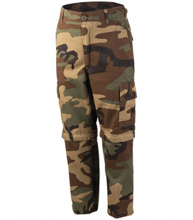 Pantalon/short détachable BDU à zip Woodland enfant - Surplus militaire