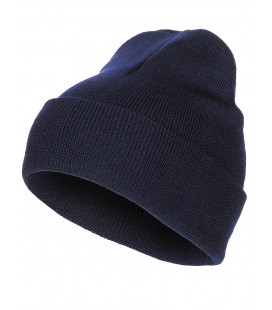 Bonnet, 100% laine, bleu, finement tricoté