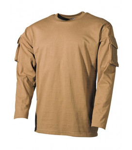 T-shirt militaire manches longues Coyote
