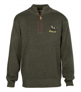 Pull Chasse Percussion Brodé Sanglier Col Cheminee