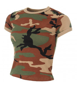 T-shirt femme Camouflage Woodland militaire