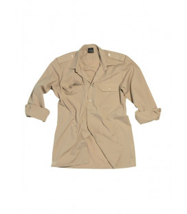 Chemise pilote manches longues beige
