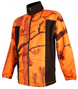 Blouson polaire Somlys marron et camouflage orange
