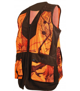 248LADY - Gilet chasse femme camouflage orange/marron - Surplus militaire