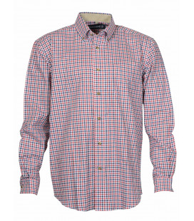 Chemise Chasse Percussion Beaugency Bleu/Rouge