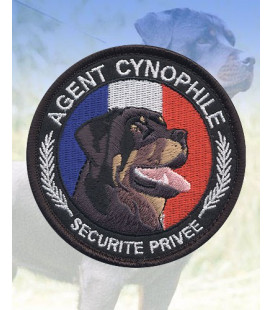 """Ecusson rond """"Agent Cynophile-Rottweiler"""""""