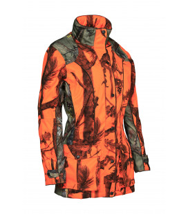 Veste Chasse Femme Percussion Brocard Ghostcamo Blaze And Black Orange