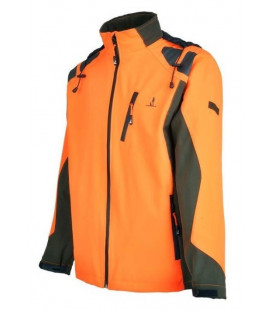 Blouson Chasse Percussion Softshell Kaki / orange