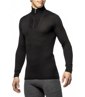 Sweat Woolpower Zip TURTLENECK 200 Noir