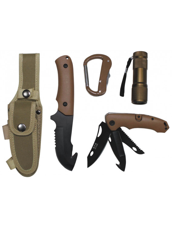 Set couteau avec LED et gaine en nylon, coyote tan - Surplus militaire