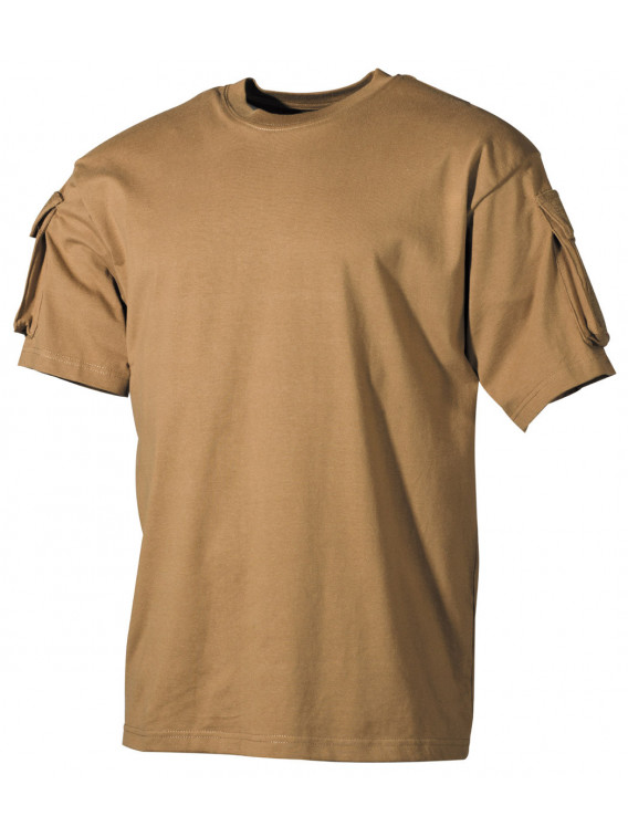 US Tee-shirt, demi-manche, coyote, poches manches - Surplus militaire