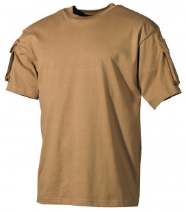 Tee-shirt militaire US demi-manche coyote poches manches